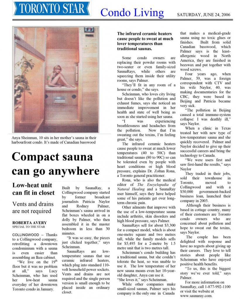Saunaray infrared retrofit sauna Toronto Star