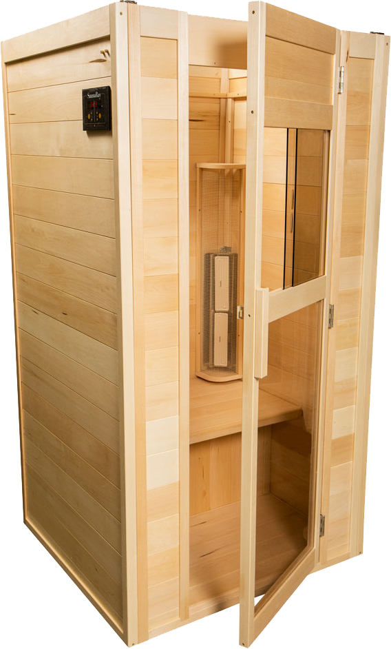 View from the right side of the two person far infrared one-person sauna by SaunaRay