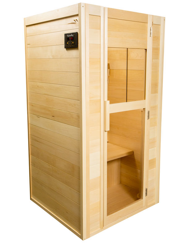 A photo of a 1 person infrared sauna. handcrafted by SaunaRay