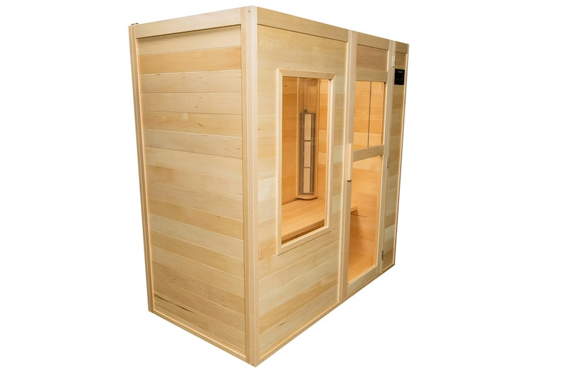 A picture of a SaunaRay 3 person infrared sauna with its side door closed.