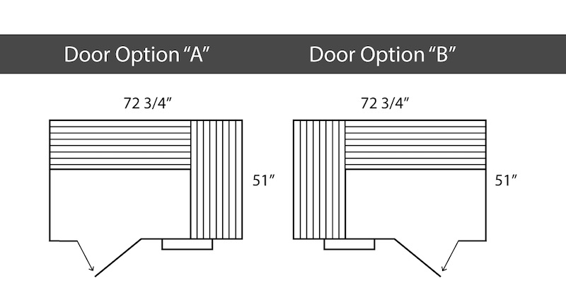 A picture that outlines the dimensions of a 4 person infrared sauna