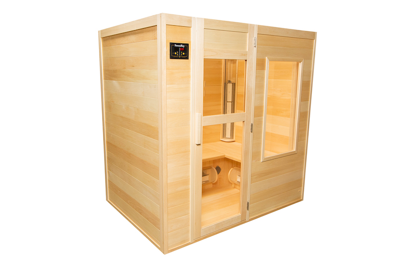 A picture of a 4 person infrared sauna from the left side with it's front door closed. Hadcrafted by SaunaRay, and made from Canadian Basswood.