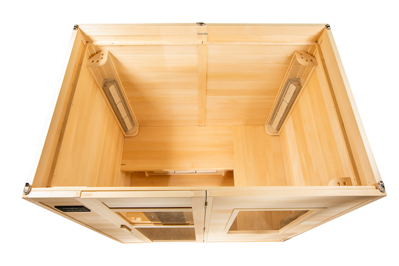 A picture of a 4 person infrared sauna from the top down looking inside the basswood sauna.