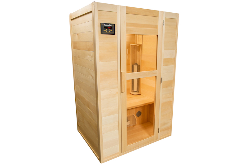 A picture of a SaunaRay 2 person infrared sauna from the left side with it's door closed