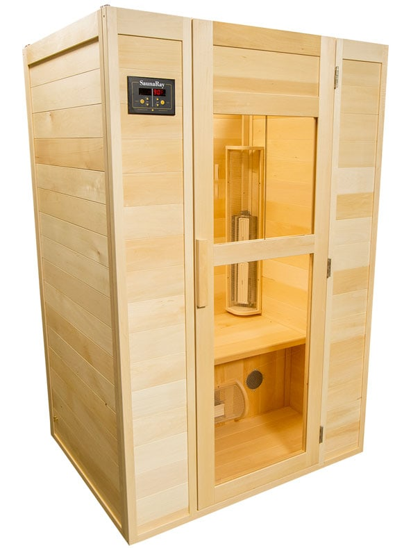 A picture of a SaunaRay 2 person infrared sauna with its side door closed.