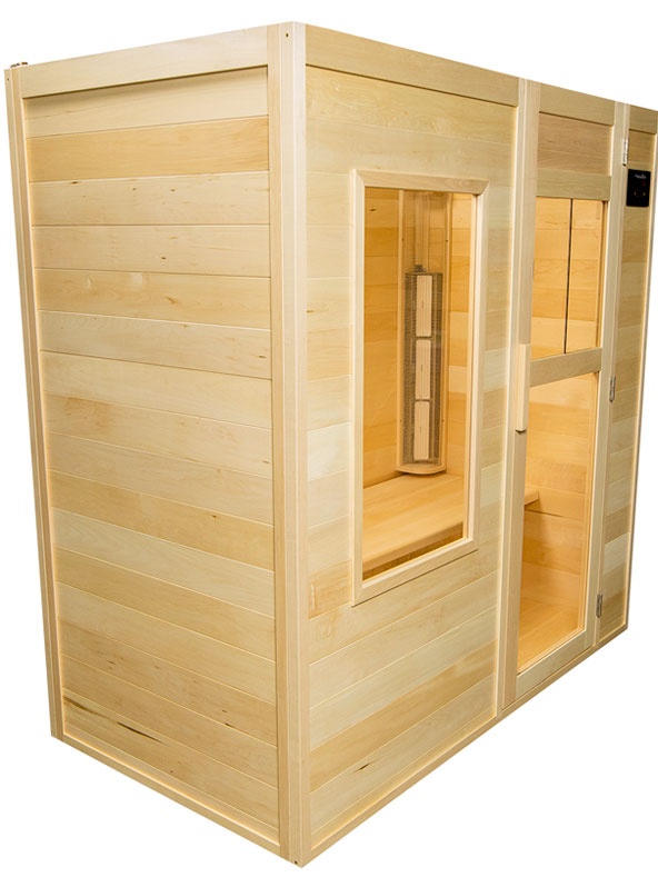 A picture of a 3 person infrared sauna handcrafted in Canadian Basswood by SaunaRay