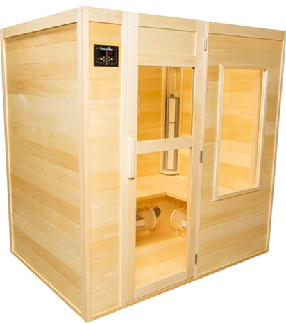 A picture of a 4 person infrared sauna. Handcrafted in Canadian Basswood by SaunaRay.